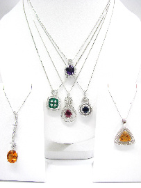 Gemstone Diamond Pendants